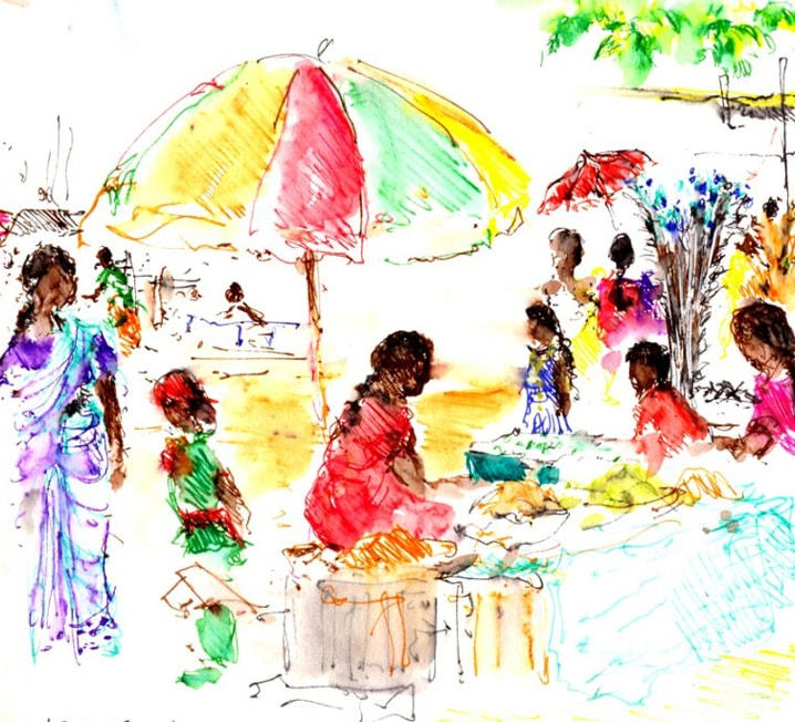 Art Safari South India, Kerala village scene by Maxine Relton
