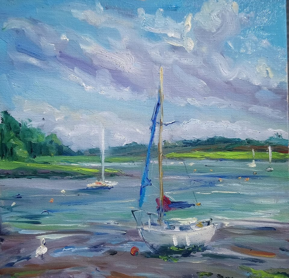 River Deben at low tide (oil painting) by Mary-Anne Bartlett