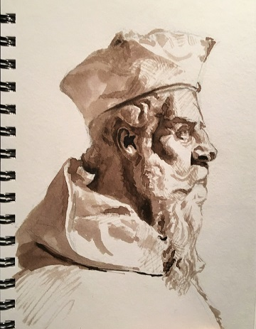 Art Safari Morocco, Arab Man sketch, Vicki Norman