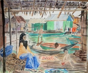 Art Safari Cambodia, Fishing village sketch by Mary-Anne Bartlett