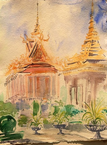 Art Safari Cambodia, Silver Pagoda sketch by Mary-Anne Bartlett