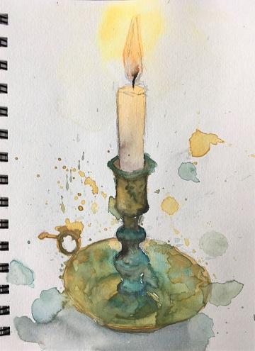 Art Safari Morocco, Candle sketch, Vicki Norman