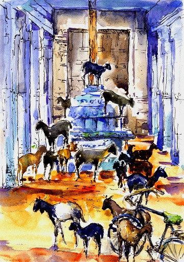 Art Safari South India, Goats in ancient Tamil temple, Maxine Relton