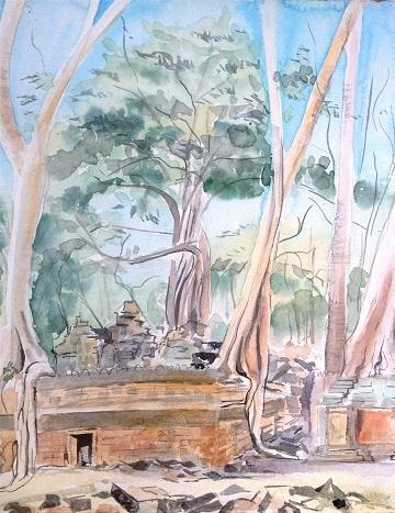 Art Safari Cambodia, Ta Prohm Temple sketch by Mary-Anne Bartlett