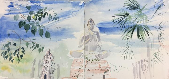 Art Safari Cambodia, Battambang buddha sketch by Mary-Anne Bartlett