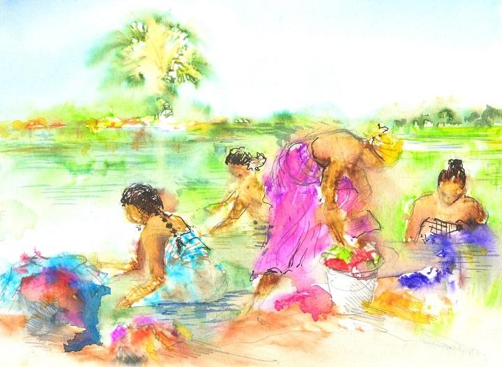Art Safari South India, River washing, Maxine Relton