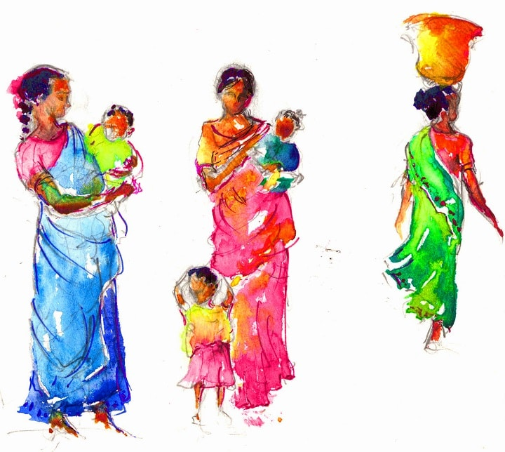 Art Safari South India, Tamil Mothers and Children, Maxine Relton