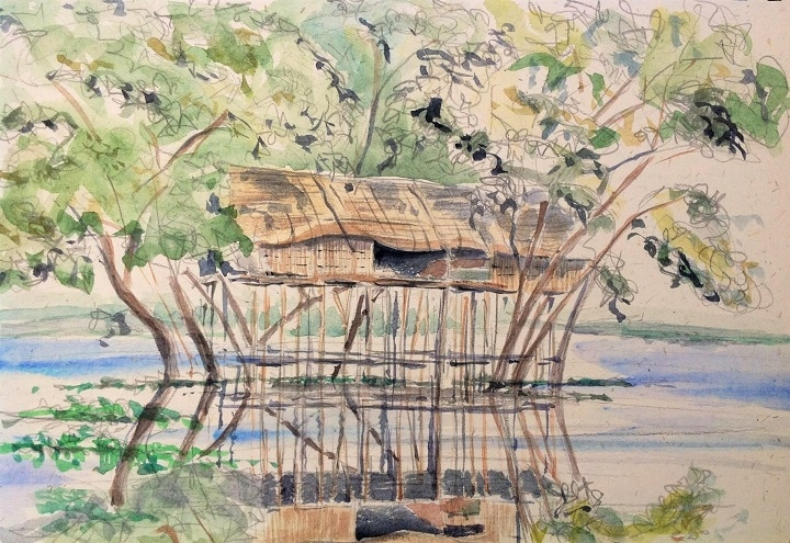 Art Safari Cambodia, Fishing hut on Tonle Sap by Mary-Anne Bartlett