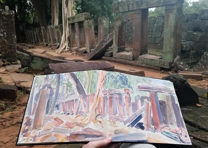 Art Safari Cambodia, Jungle temple sketch by Mary-Anne Bartlett