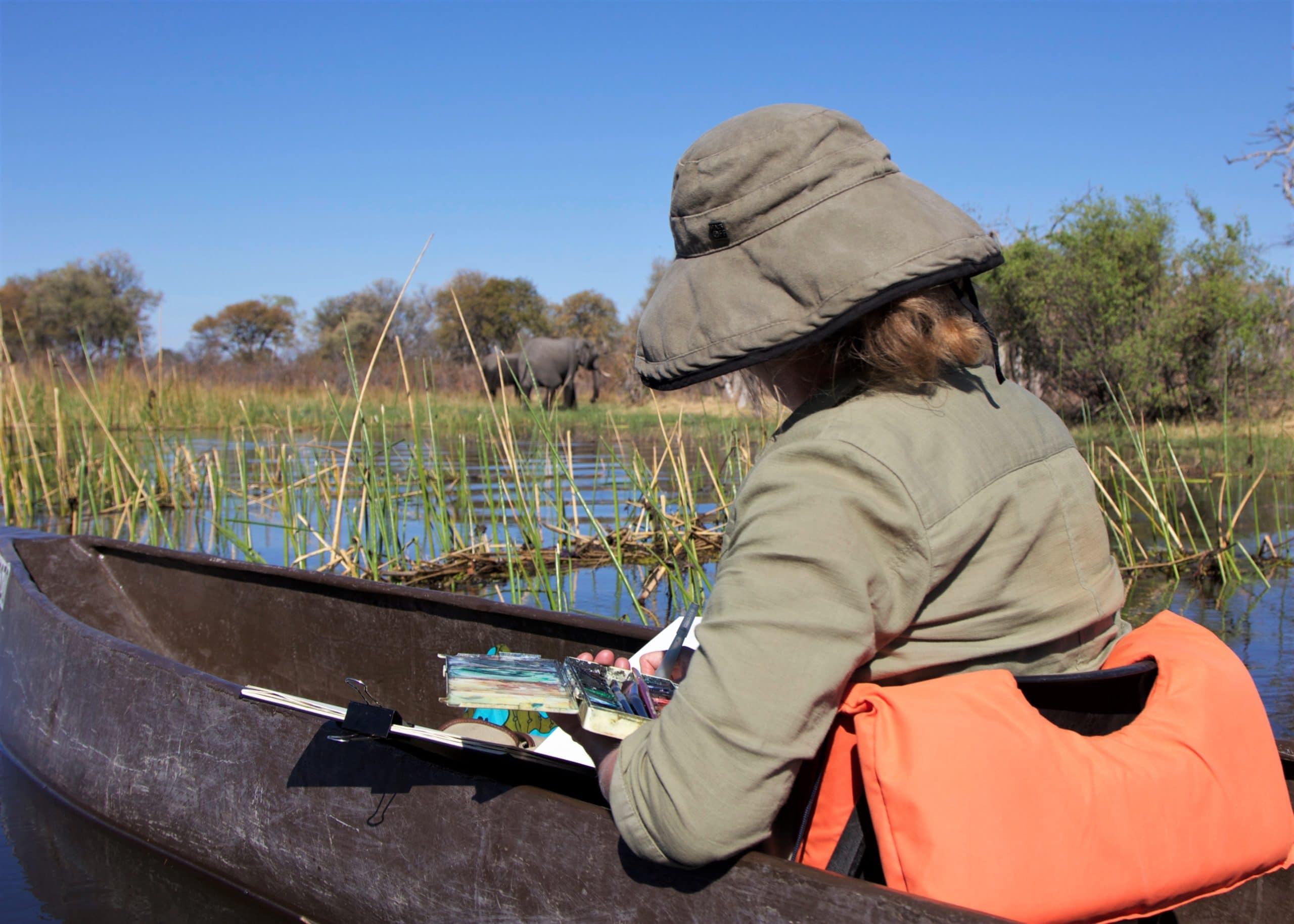 Art Safari, Mary-Anne Bartlett painting elephants in the Okavango Delta