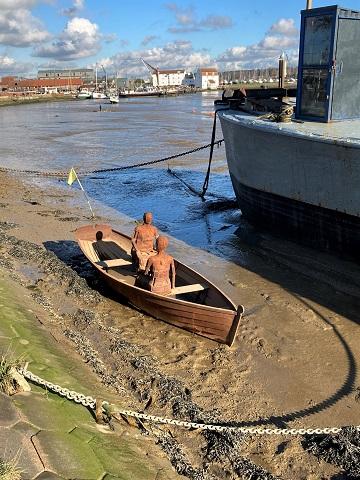 Rowing boat sculpture, Woodbridge waterfront