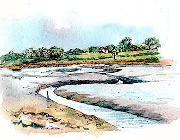 Martlesham Creek, Line and Wash sketch by Claudia Myatt