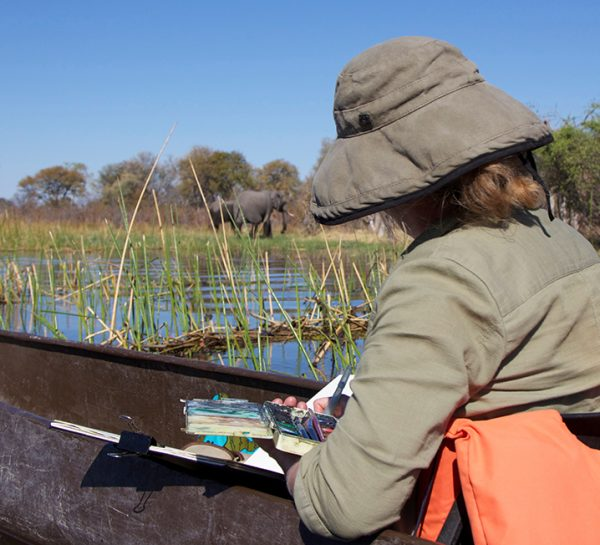 Mary-Anne painting elephants in Botswana